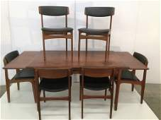 Danish Expandable Dining Table/Six Chairs Two Leaves