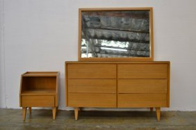 Modernist Chest, Nite Stand And Mirror