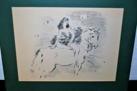 "Marcel Vertes ""lady On Horse"" Pencil Signed"