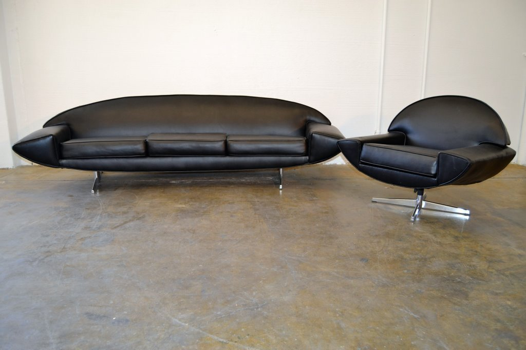 """Johannes Anderson Black """"Saturne"""" Sofa and Chair"""