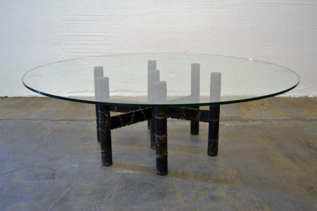 Paul Evans Signed Brutalist Steel Cocktail Table