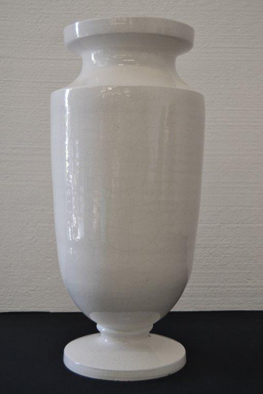 Large Italian Majolica White Floor Vase