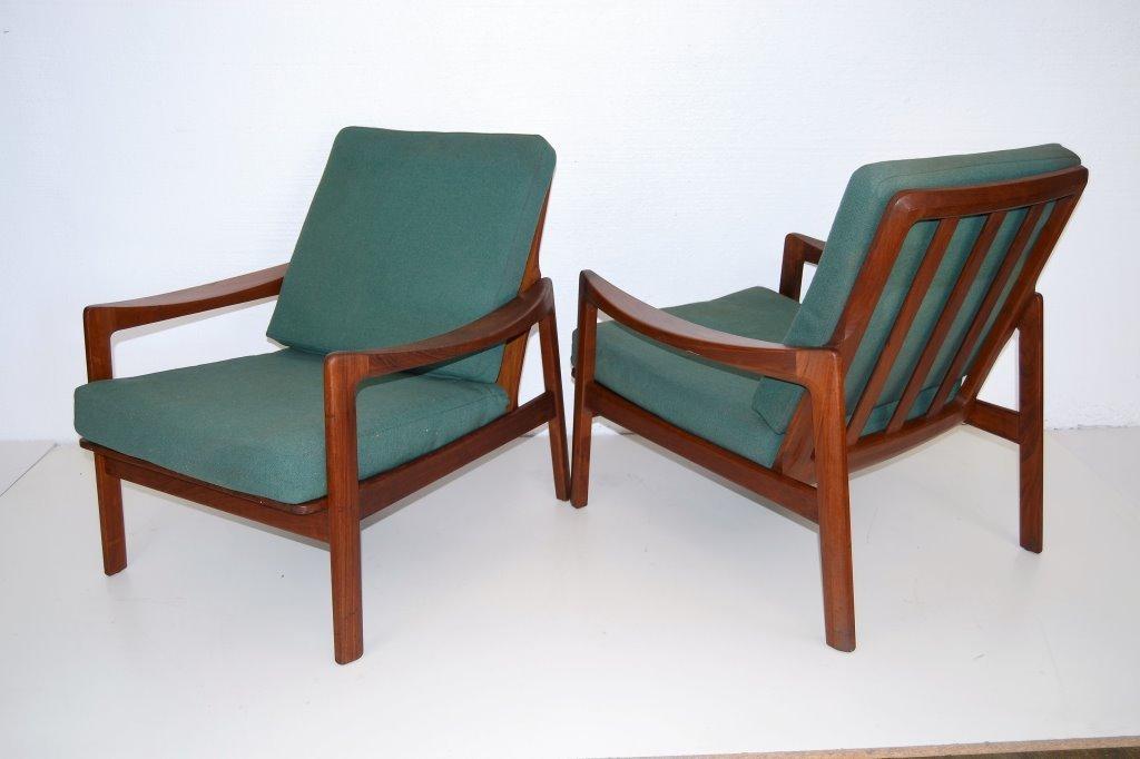 Peter Hvidt Style Scandi Teak wood Arm Chairs
