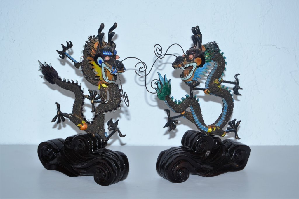 Silver and Enamel Chinese Dragons