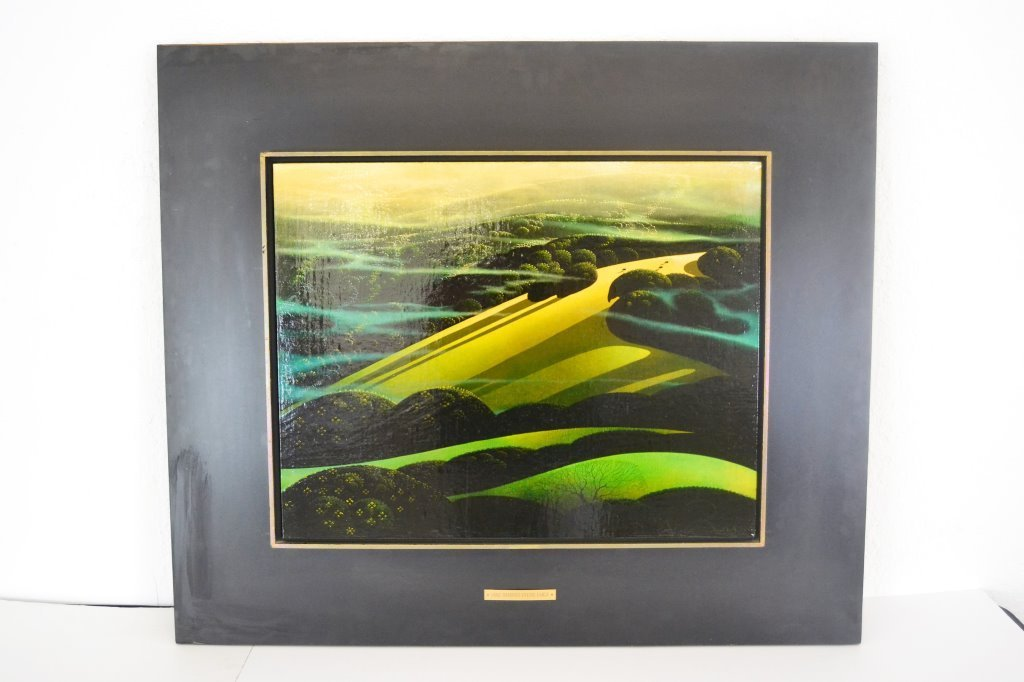 """Eyvind Earle """"Lone Shadows"""" Signed Painting"""