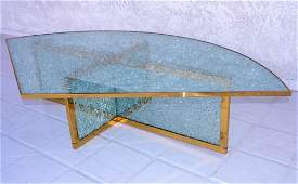 Steve Chase Custom Brass/Crackle Glass Cocktail Table