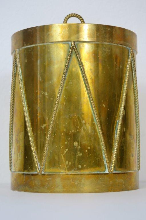 """Saks 5th Avenue Italian Brass """"Drum"""" Ice Bucket"""