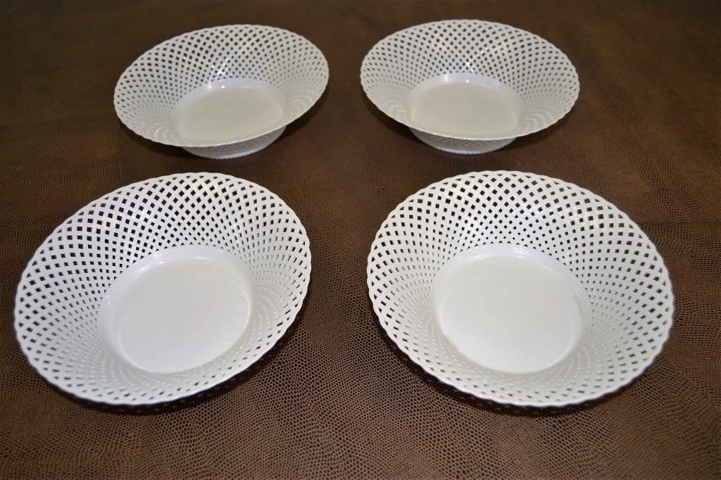 Four KPM Lattice Porcelain Bowls
