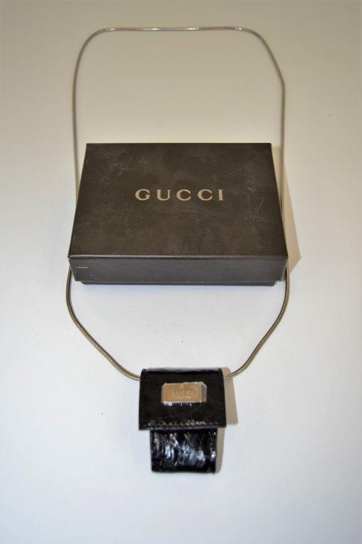 Gucci Black Crocodile Case on Chain