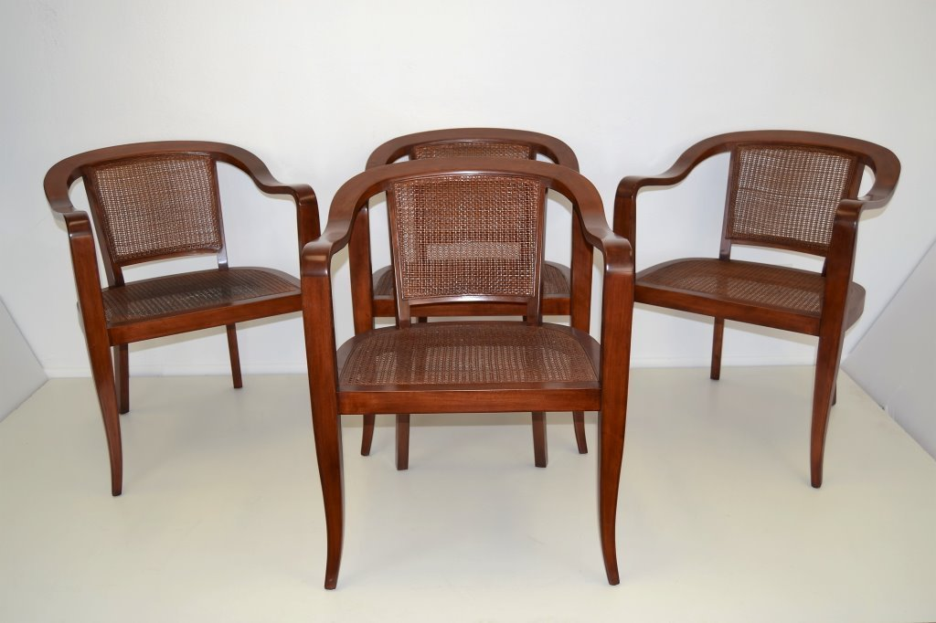 Baker Rattan Arm Chairs Set of Four