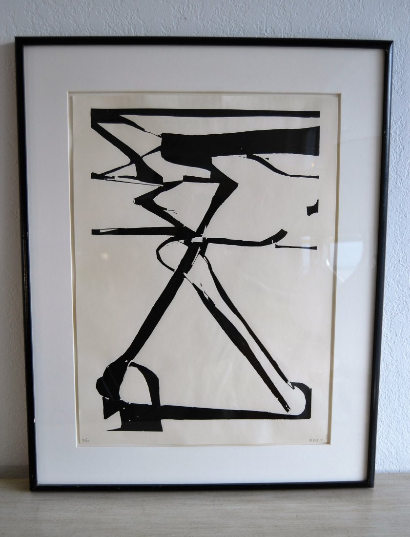 "Richard Diebenkorn ""Double X"" Woodblock Signed & Dated"