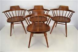 George Nakashima Cherry Windsor Arm Chairs Signed