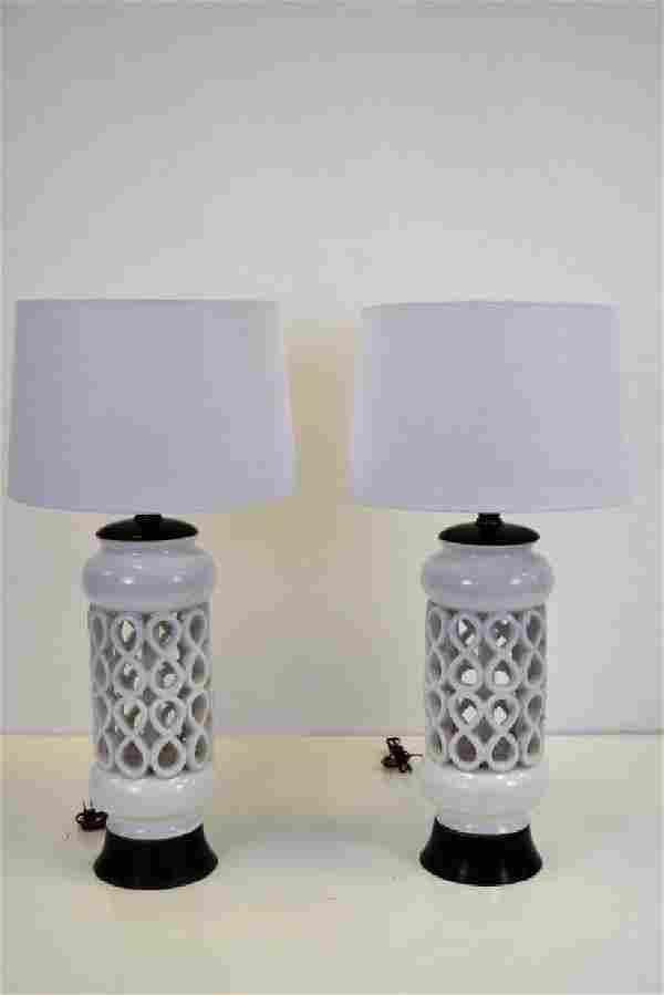 White Italian Ceramic Lamps Pair