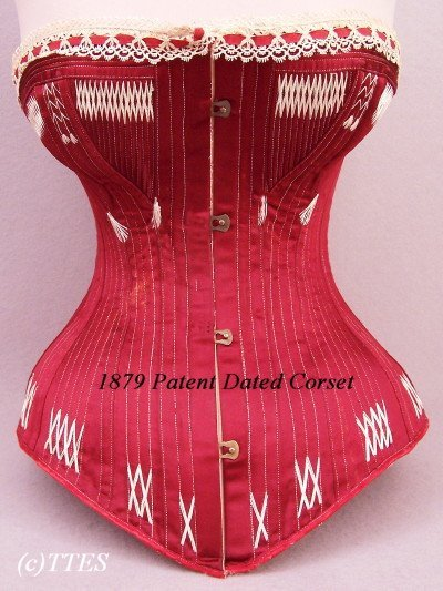 401: Rare 1879 Patent Dated Red Silk Satin Corset