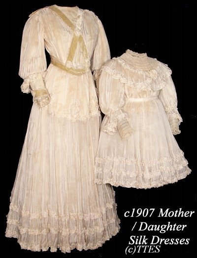 402: Special c1907 Mother And Daughter  Silk Tea Gowns