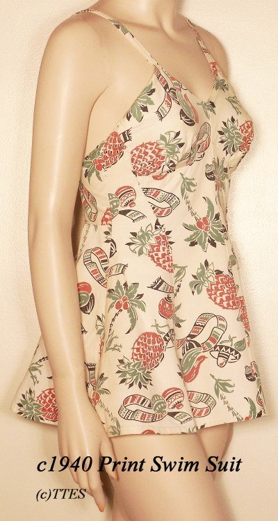 403: c1940 Lady's South Of The Border Print Swim Suit