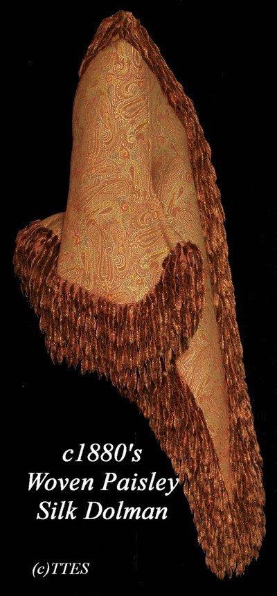 406: Fine c1880's Lady's Woven Paisley Silk Dolman