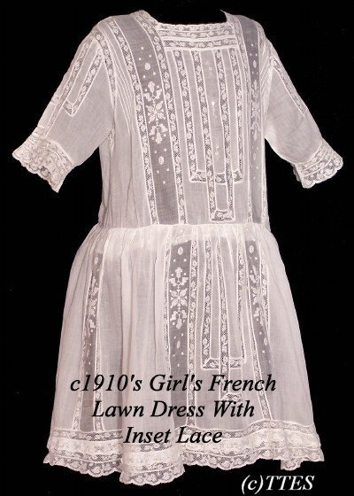 408: c1910's Girl's French Lawn Dress w Inset Lace