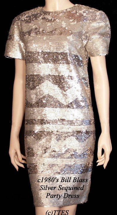409: c1980's Bill Blass Silver Sequined Party Dress
