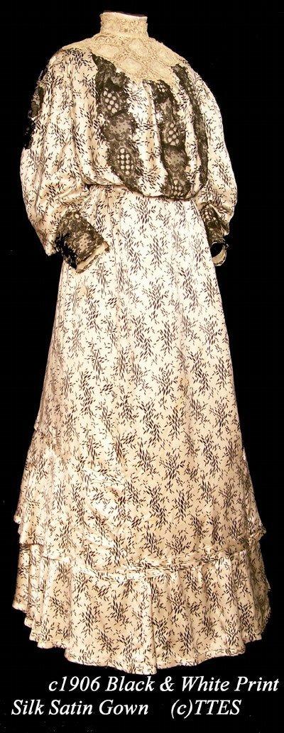 411: c1906 Black & White Printed Silk Satin Gown