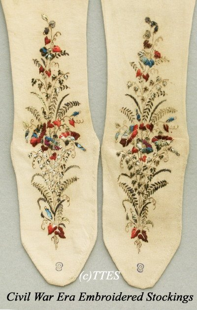 412: Civil War Era Lady's Embroidered Stockings