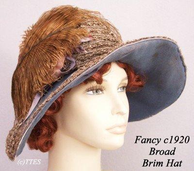 413: Fancy c1920's Lady's Broad Brim Hat