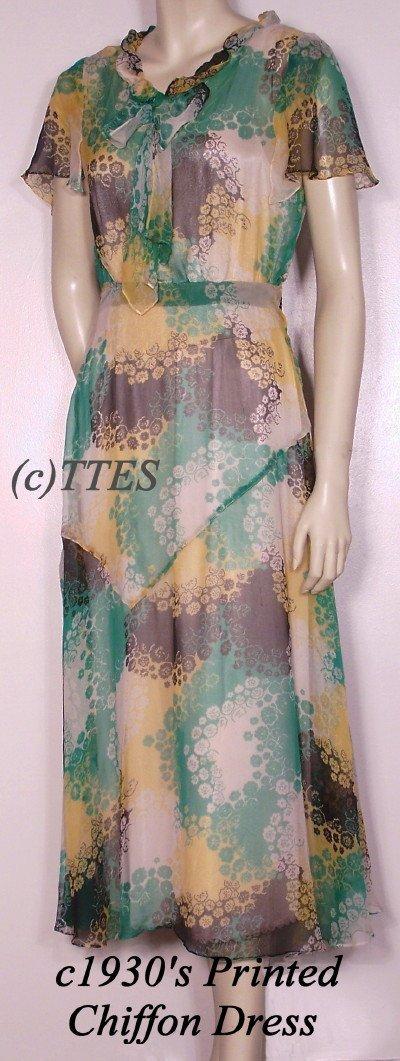 414: Dreamy c1930's Lady's Printed Chiffon Dress