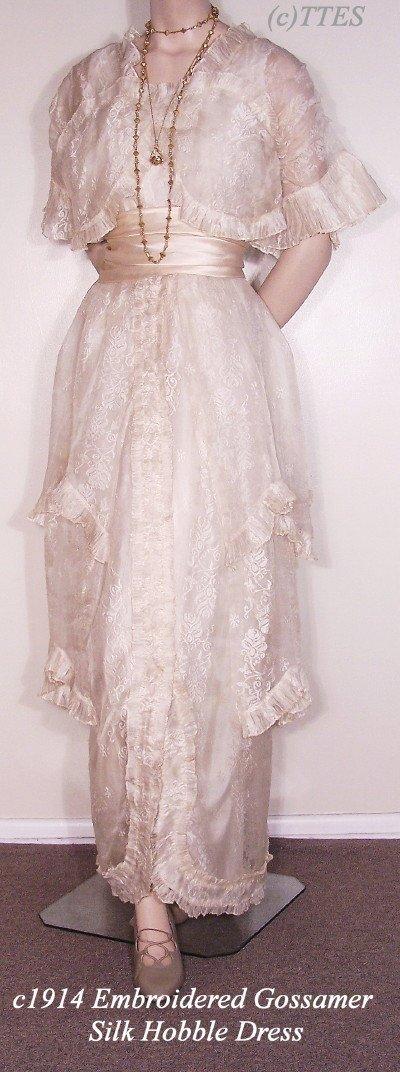 415: c1914 Embroidered Gossamer Silk Hobble Dress