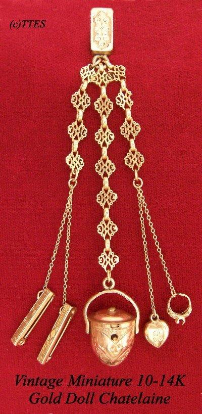 417: Vintage Miniature 10-14K Gold Doll Chatelaine