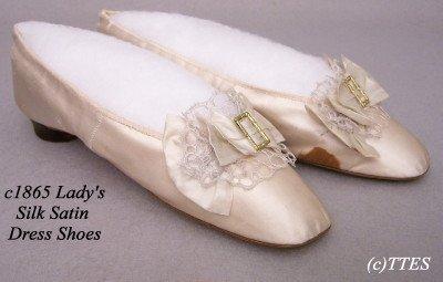 418: c1865 Lady's Silk Satin Dress Shoes