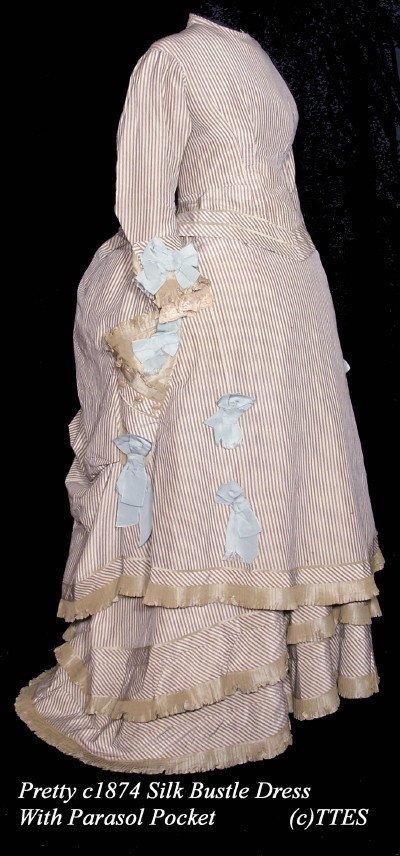 420: Pretty c1874 Silk Bustle Dress w Parasol Pocket