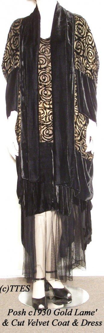 422: Posh c1930 Gold Lame'  & Cut Velvet Coat & Dress