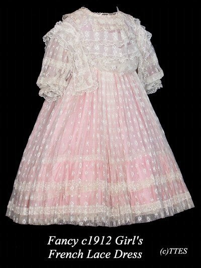 423: Fancy c1912 Girl's French Lace Dress