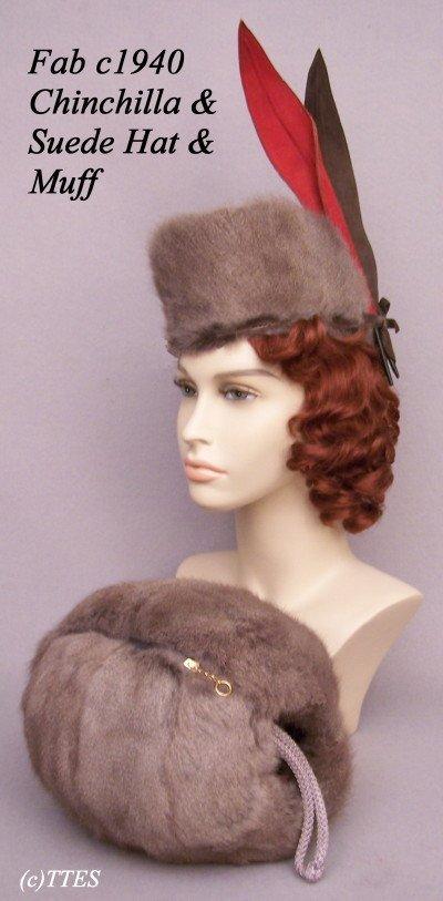 424: Fab c1940 Lady's Chinchilla & Suede Hat & Muff