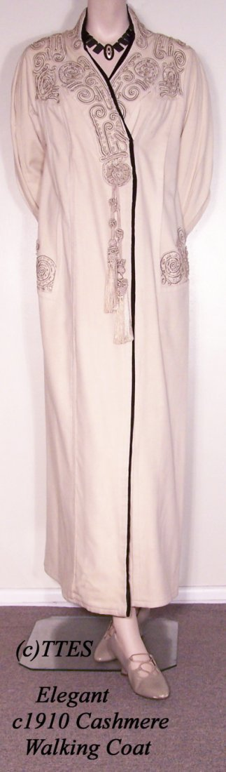 435: Elegant c1910 Lady's Cashmere Walking Coat