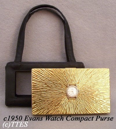438: c1950's Evans Compact Purse with Valjean Watch