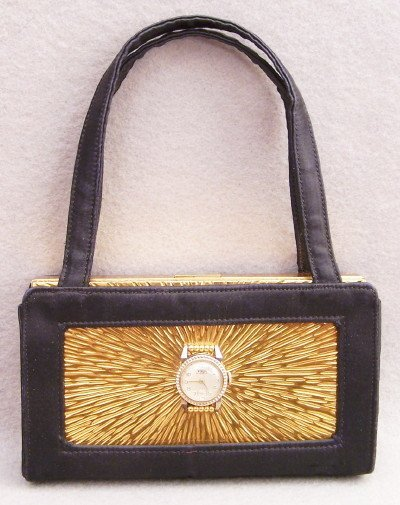 438: c1950's Evans Compact Purse with Valjean Watch - 2