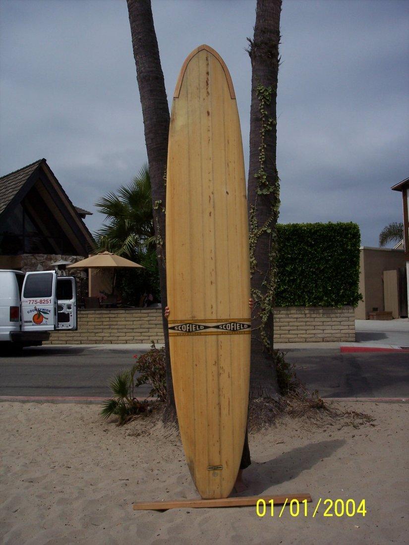 106: 1965 Balsa Surfboard, No. 600 {Scofield}