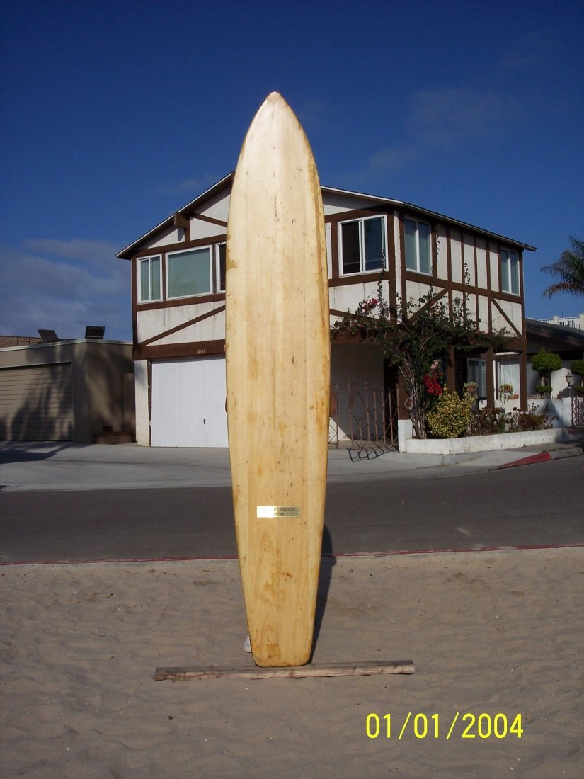 112: 1950 Restored Balsa Surfboard {Santa Cruz}