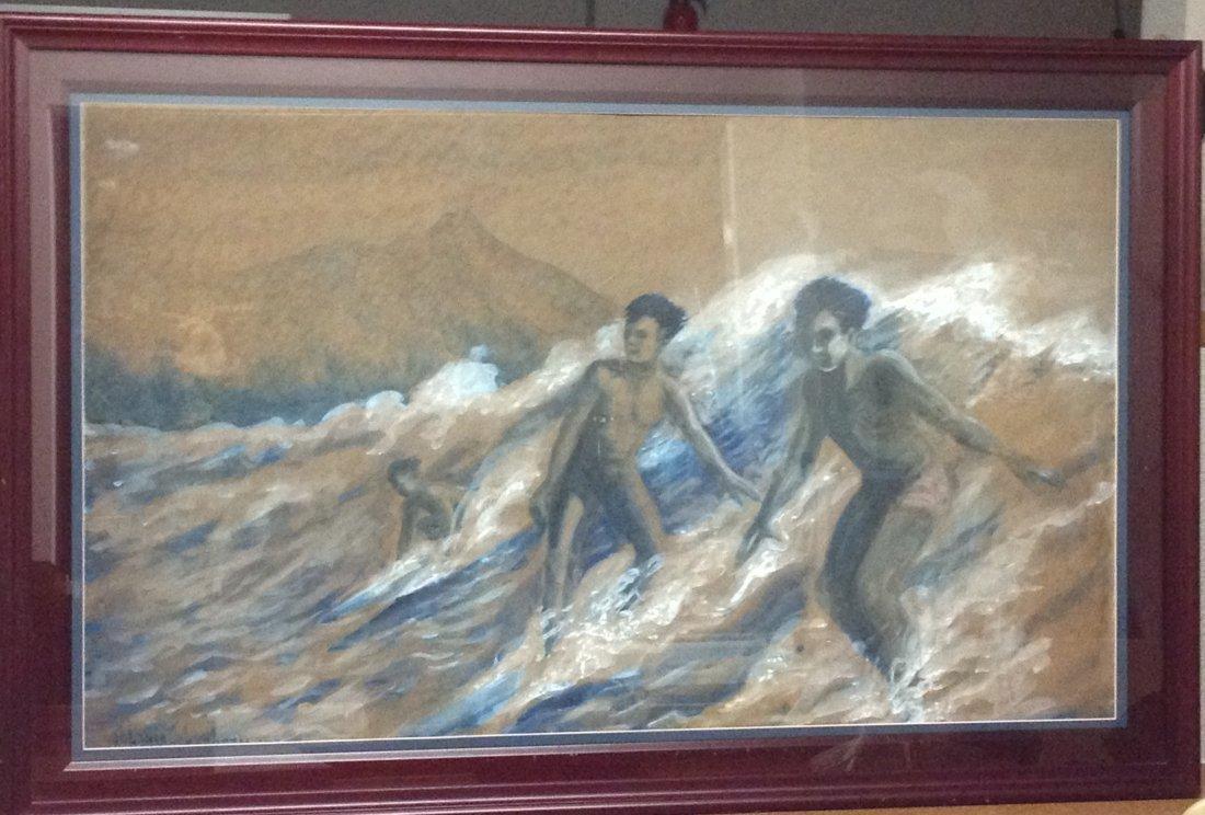 103B: 1936 Waikiki Surfers Chalk on Board {JC}