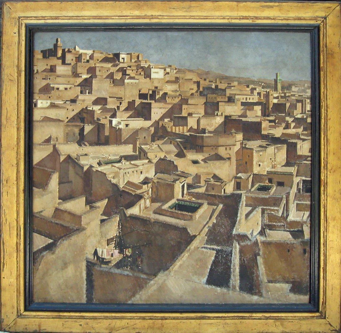 53: Bernard Boutet De Monvel oil on canvas city roof to