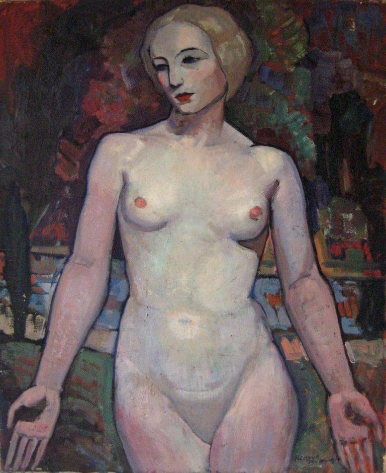 64: Henry Twardzik oil on canvas of a pale nude, 28 by
