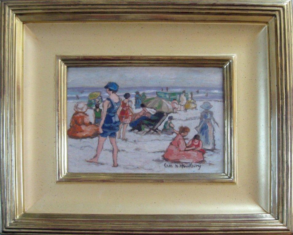 100: Charles H. Woodbury oil on board beach scene, 7.5