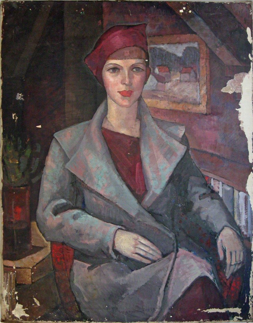 201: Henry Twardzik oil on canvas portrait of a woman i