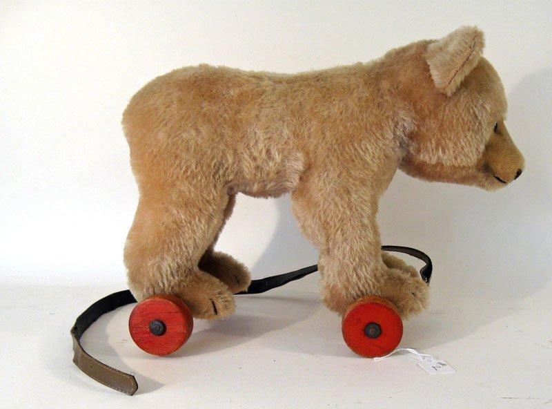 2: Steiff wheeled teddy bear, 10 inches tall 13 inches
