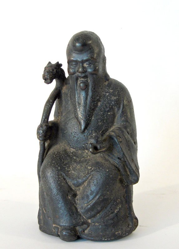 6: Chinese bronze sculpture of an immortal, 8 inches ta