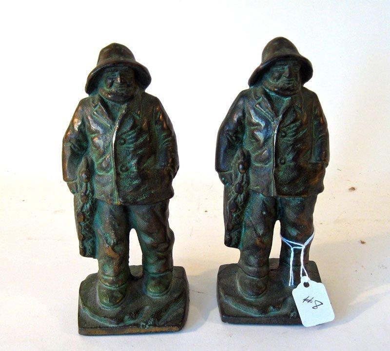 8: Pair of bronze/brass Gloucester fisherman bookends,