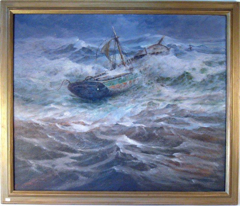 9: Gilbert Tucker Margeson oil on canvas marine scene s