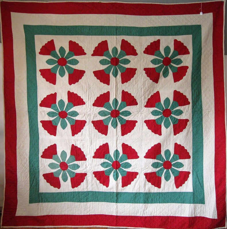 "10: Antique, ""Rose of Sharon,"" appliqué quilt, 6 foot 9"