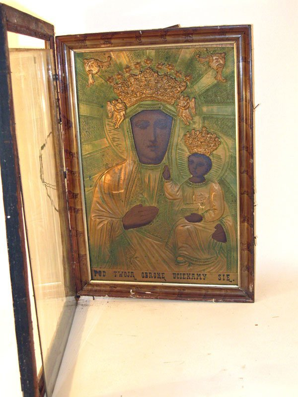 12: Russian Orthodox icon, 20 by 13 inches, framed.